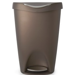 Stainless Steel Kitchen Trash Can Sage Green Cabinets Umbra Brim Large With Foot Pedal Stylish And Durable 13 Gallon Step Garbage Lid Bronze Walmart Com