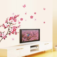 Wall Stickers Living Room Sectionals For Small Spaces Beautiful Removable Flower Sticker Bedroom Decorations Home Decals Pink