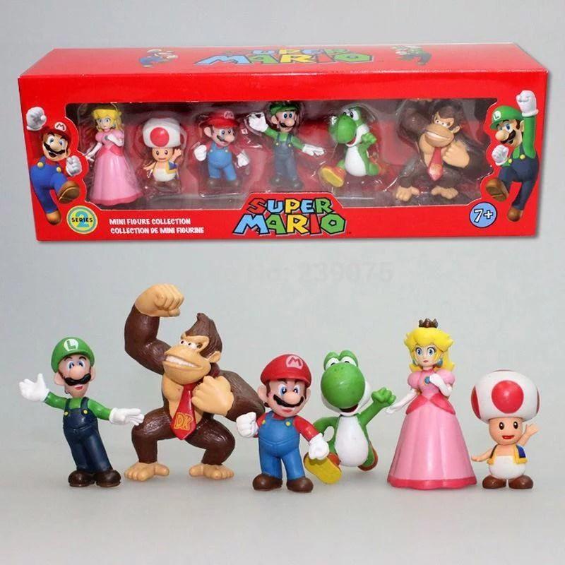 6pc Super Mario Bros Peach Toad Mario Luigi Yoshi Donkey Kong Action Figure Toys Walmart Com Walmart Com