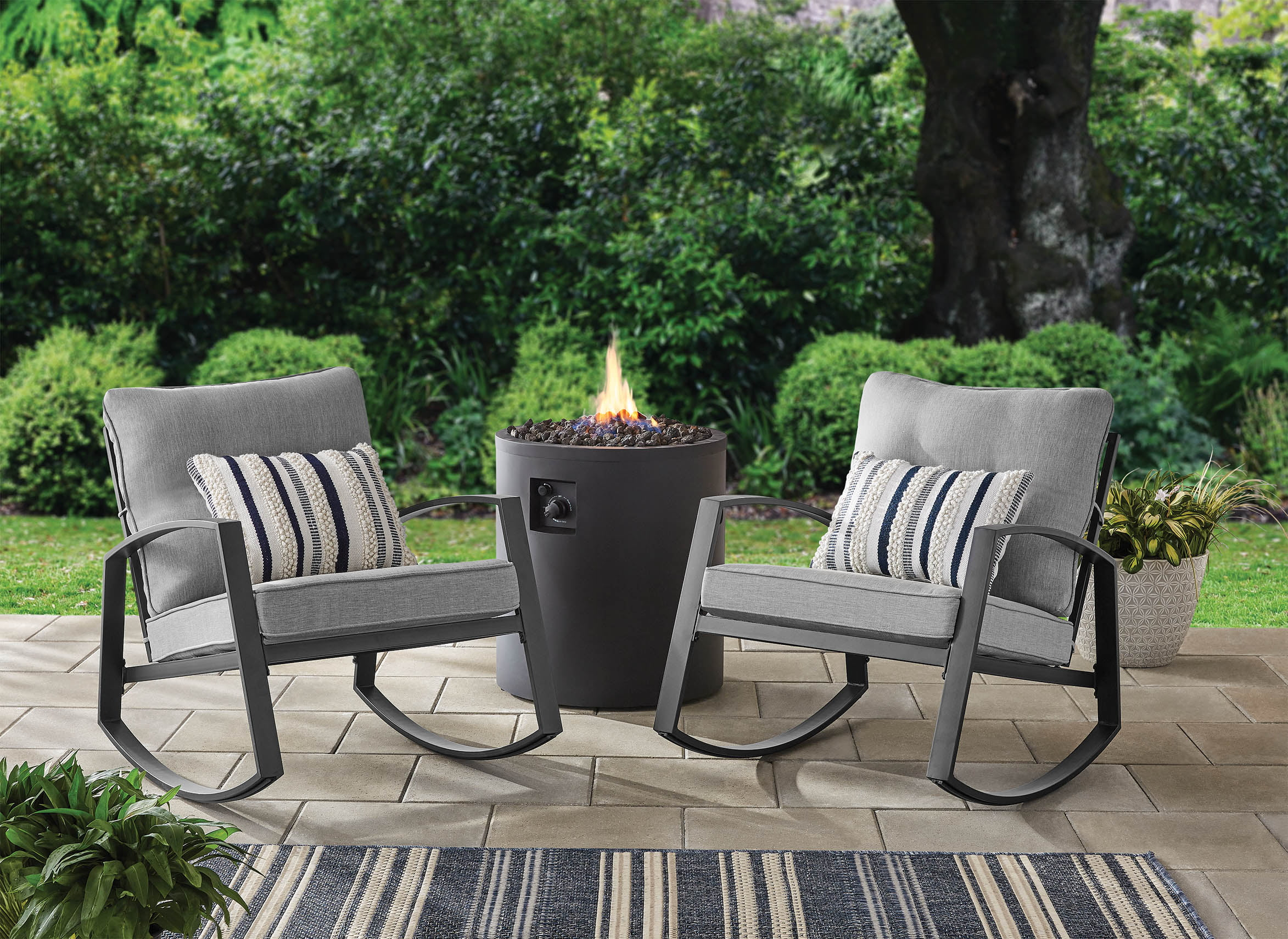 mainstays asher springs 2 piece steel cushioned rocking chair set grey walmart com