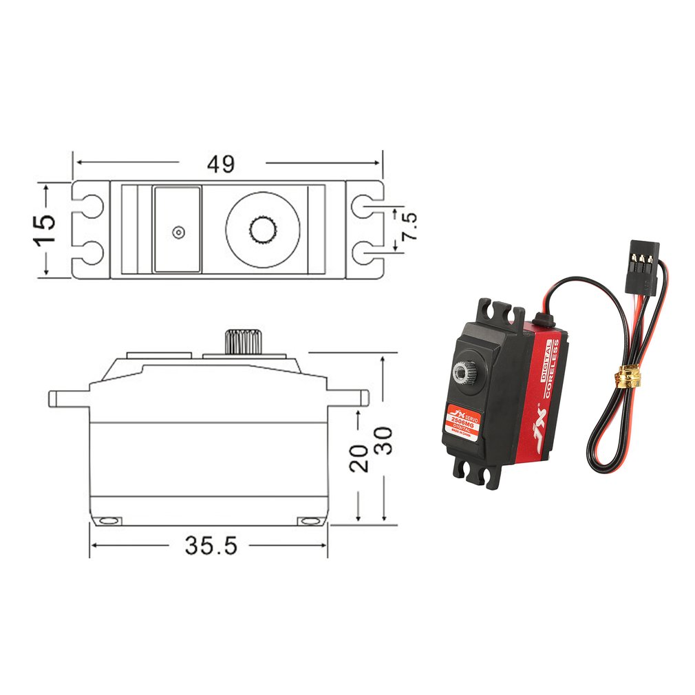 hight resolution of jx pdi 2506mg 25g metal gear digital servo for rc 450 500 helicopter airplane