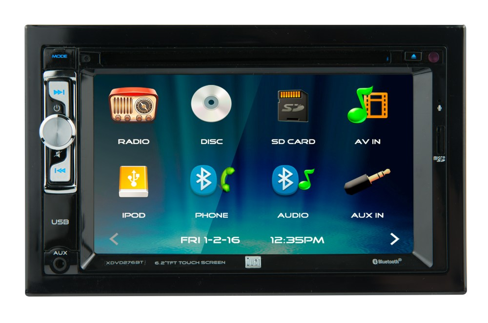 medium resolution of dual electronics xdvd276bt 6 2 inch led backlit lcd multimedia touch screen double din car stereo with built in bluetooth iplug cd dvd player