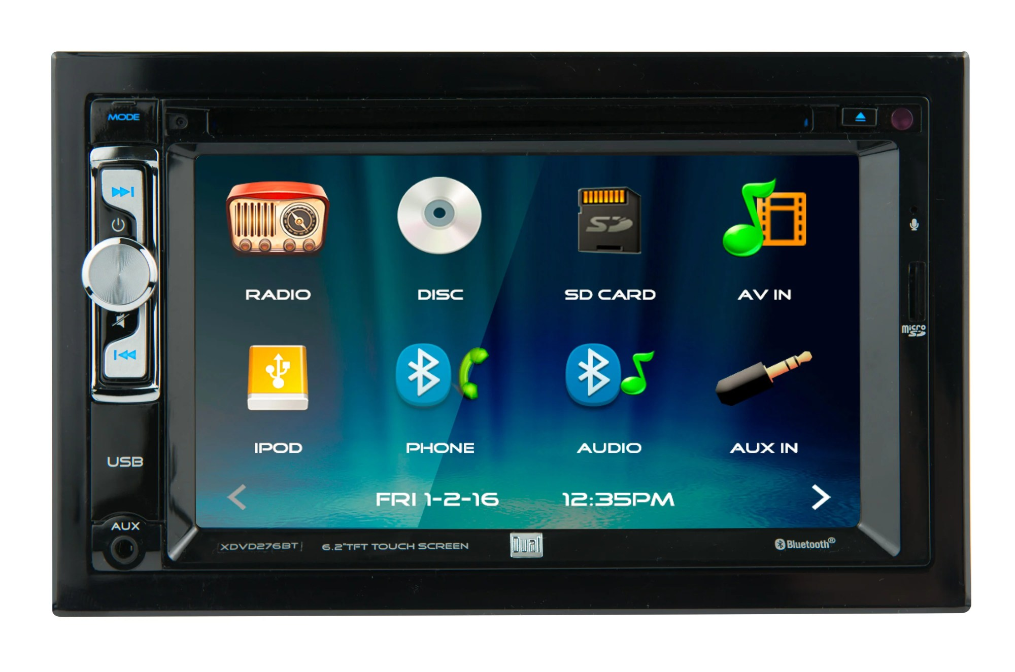 hight resolution of dual electronics xdvd276bt 6 2 inch led backlit lcd multimedia touch screen double din car stereo with built in bluetooth iplug cd dvd player