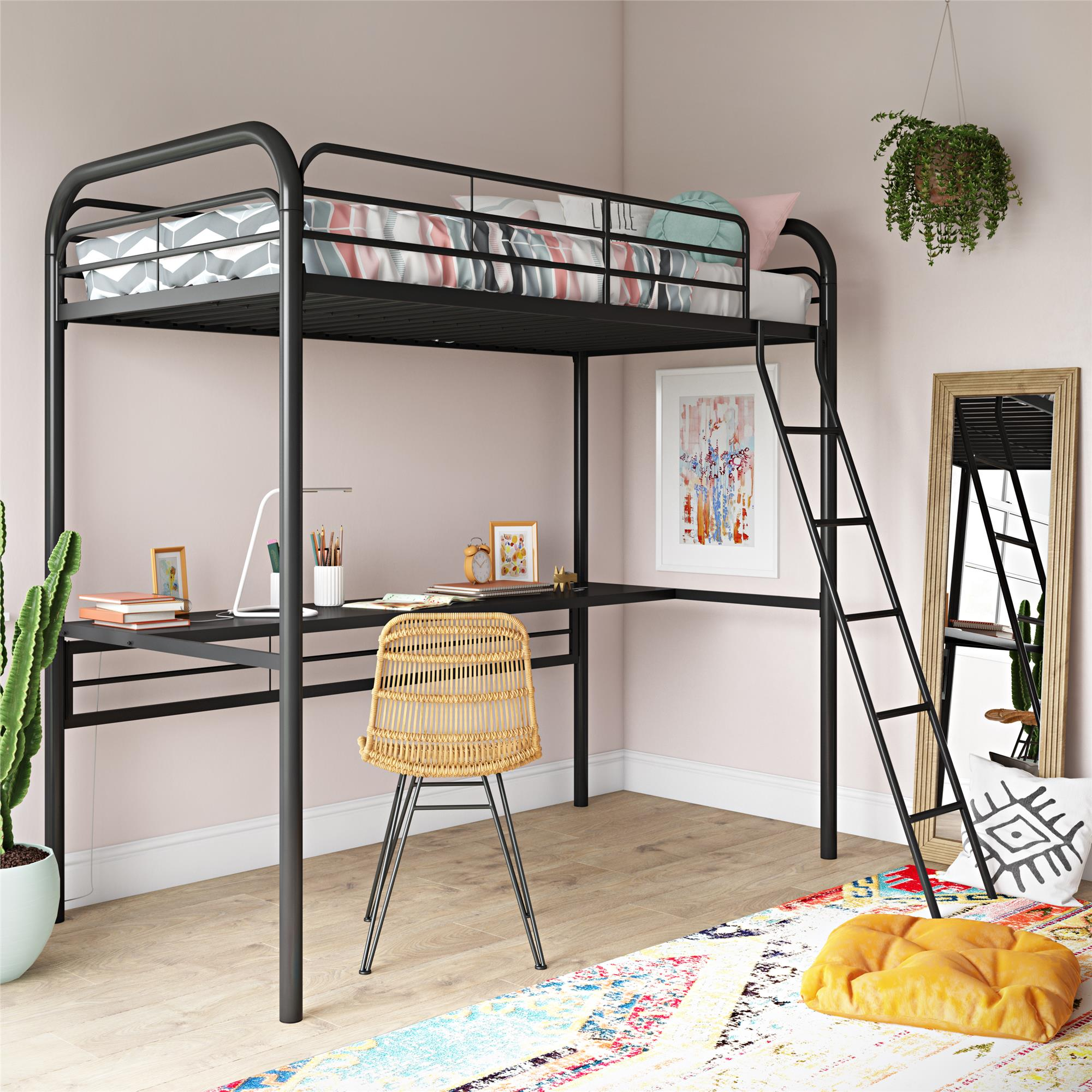 Dhp Metal Loft Bed With Desk Twin Size Frame Black Metal Black Desk Walmart Com Walmart Com