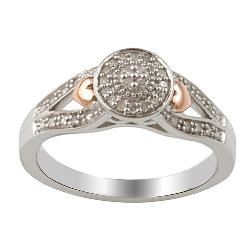 Diamond Accent Round Promise Ring in Sterling Silver with