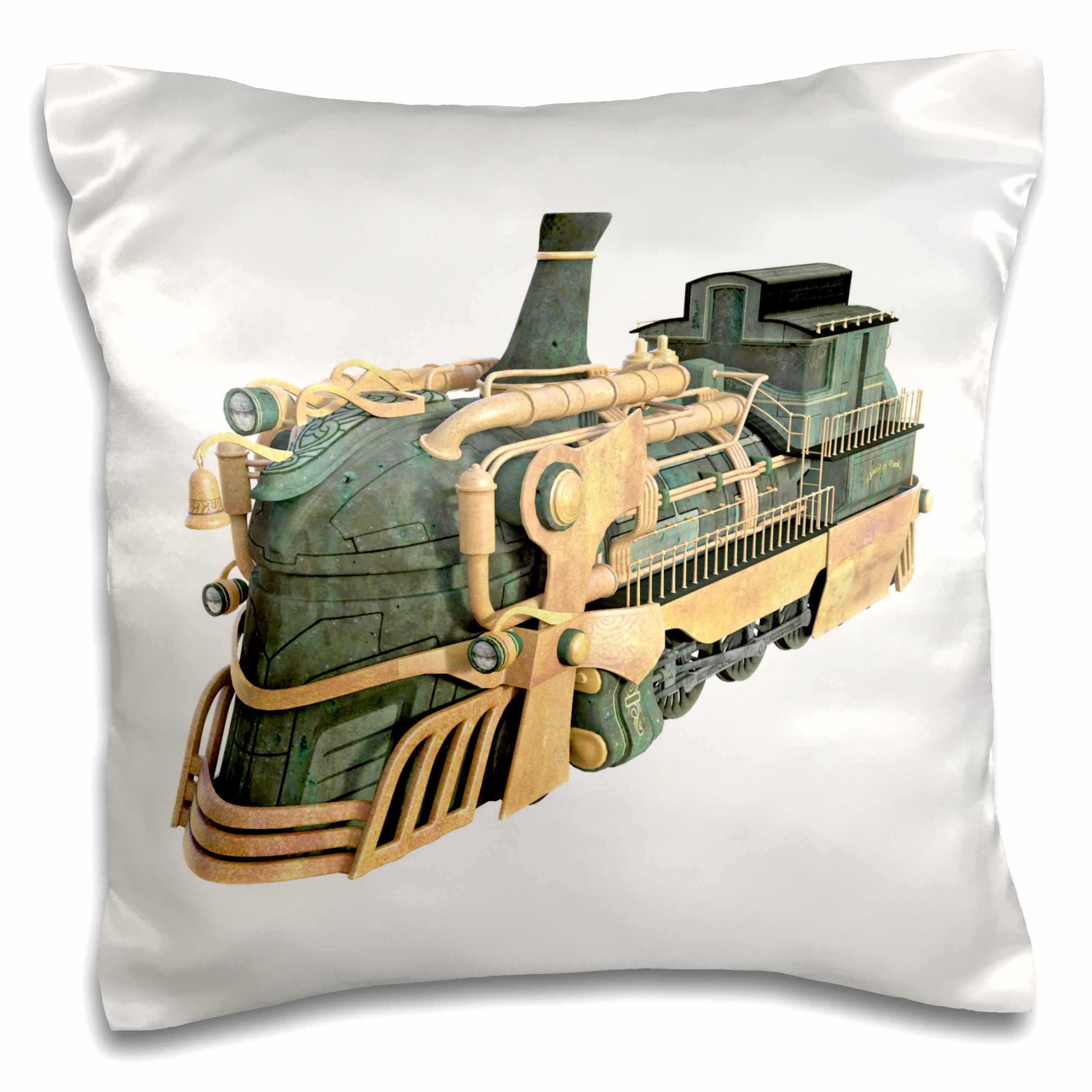 3drose a green patina and copper steampunk train engine pillow case 16 by 16 inch