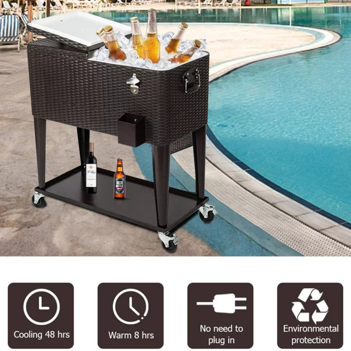 rolling cooler cart 80 quart rattan ice chest for outdoor patio deck party portable party bar cold drink beverage cart tub backyard cooler trolley