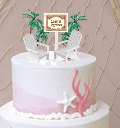 1derful 2gether With 2 Beach Chairs Wedding Anniversary Cake