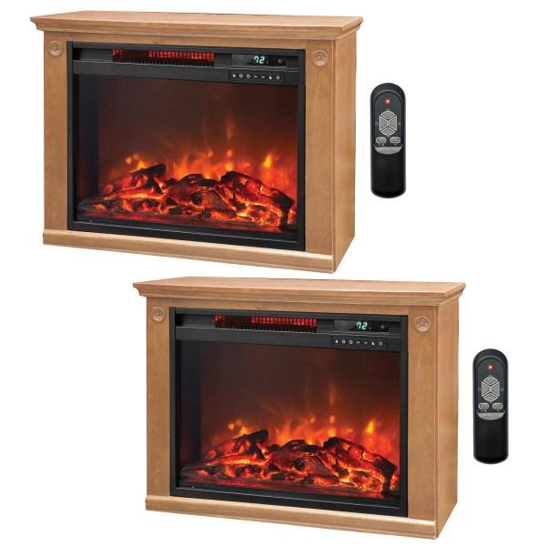 Lifesmart 3 Element Quartz Infrared Electric Portable Fireplace Heaters Pair