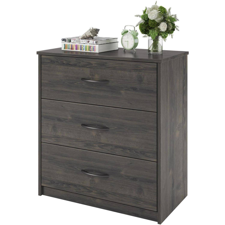3 Drawer Dresser Chest Bedroom Furniture Black Brown White Storage Wood Modern  eBay