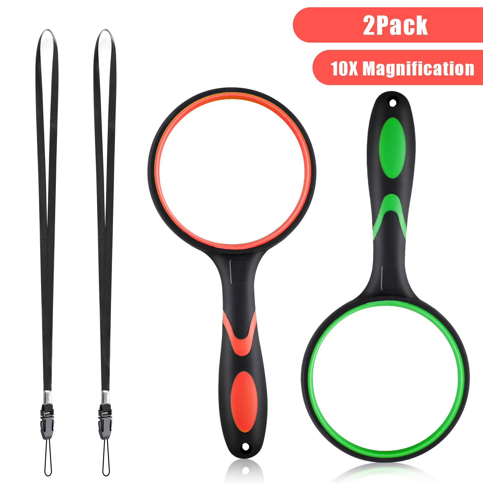 2pcs Magnifying Glass Handheld Reading Magnifier 75mm