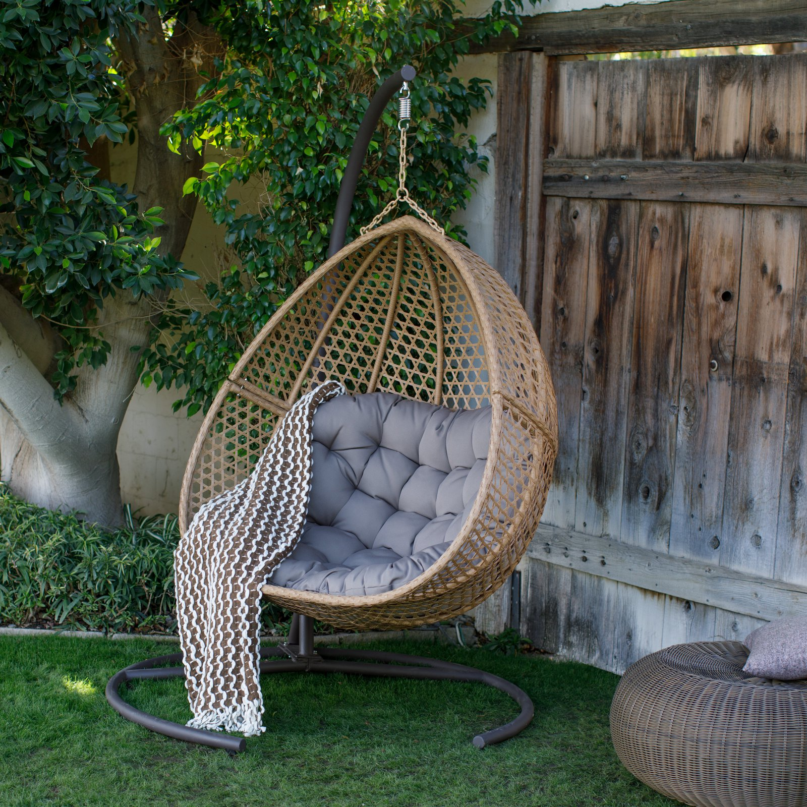 Belham Living Cayman Resin Wicker Hanging Double Egg Chair