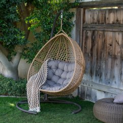 Hanging Chair Double Office Posture Helper Belham Living Cayman Resin Wicker Egg With Cushion And Stand Walmart Com