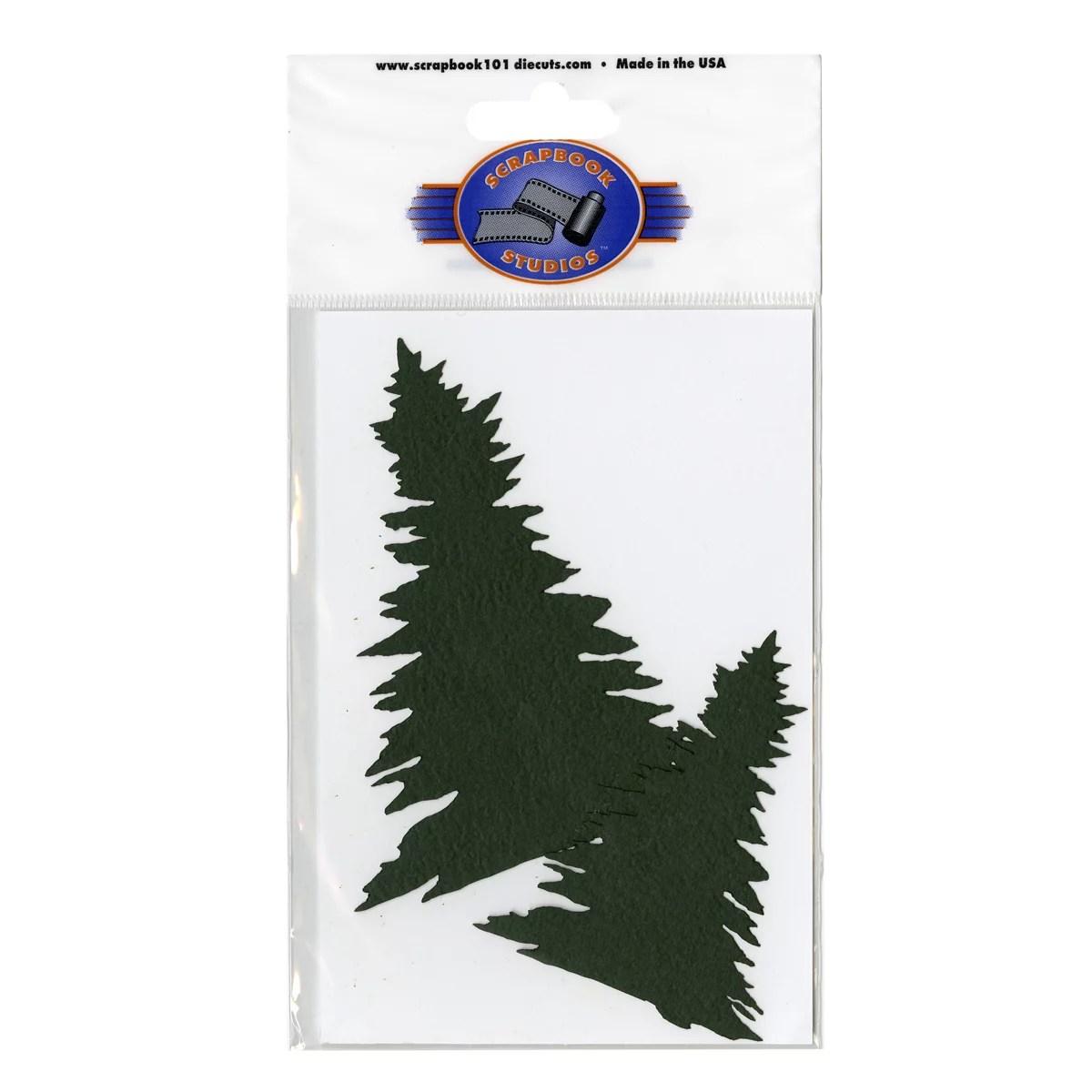 Scrapbook 101 Shape Cardstock Die Cuts Pine Trees Multi