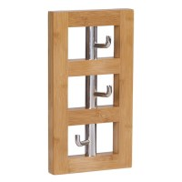 Household Essentials Bamboo Vertical 3-Hook Wall Coat Rack ...