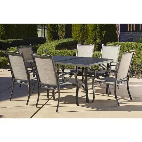 cosco outdoor 7 piece serene ridge aluminum patio dining set dark brown
