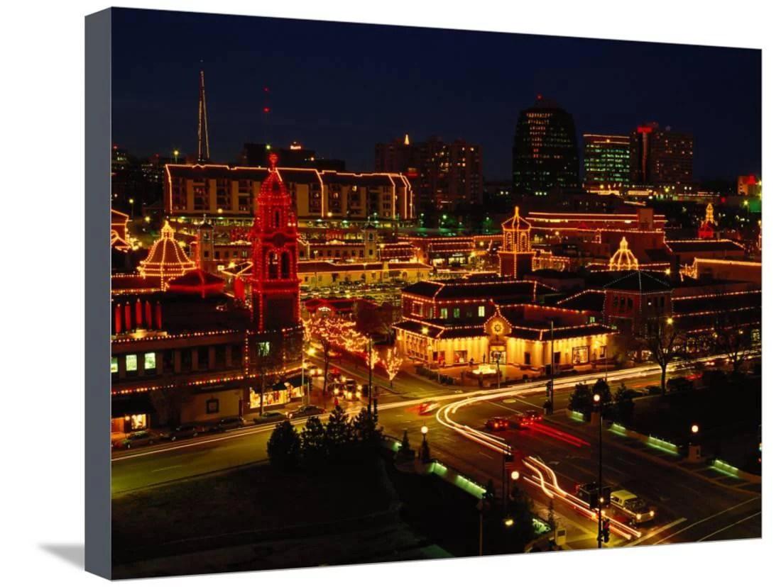 Kansas City Plaza At Christmas Missouri Stretched Canvas Print ...