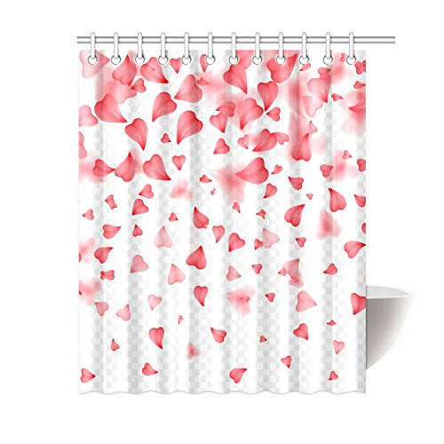 bpbop falling red hearts shower curtain valentine love polyester fabric shower curtain bathroom sets 60x72 inches