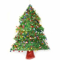 "18"" 2D Tinsel Christmas Tree Wreath Decoration"