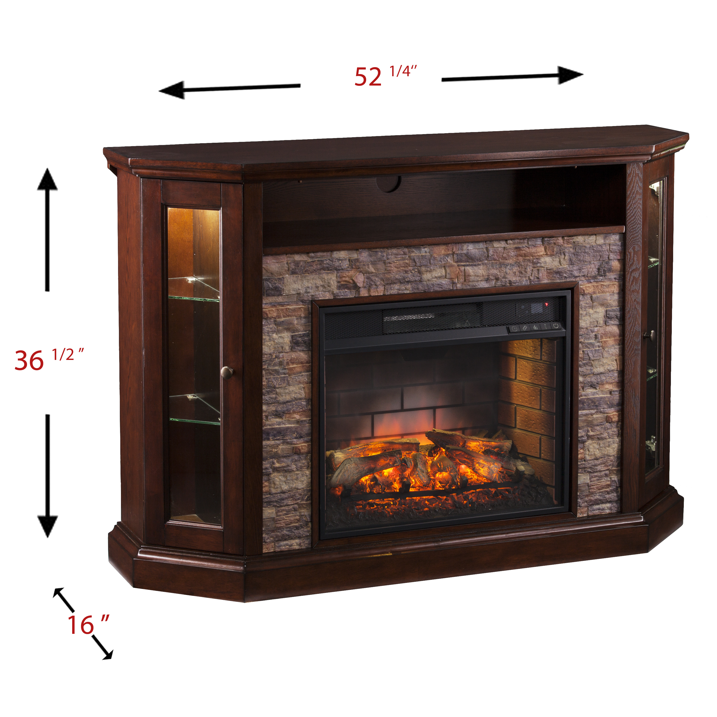 Renstone Corner Media Console With Electric Fireplace For