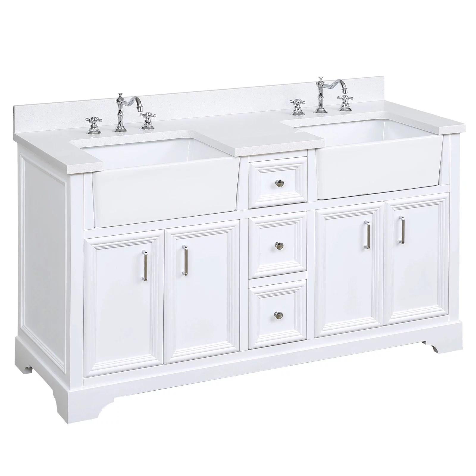 Includes A Quartz Countertop And White Ceramic Farmhouse Apron Sink Quartz Powder Gray Powder Gray Cabinet With Soft Close Doors Drawers Zelda 60 Inch Single Bathroom Vanity Bathroom Vanities