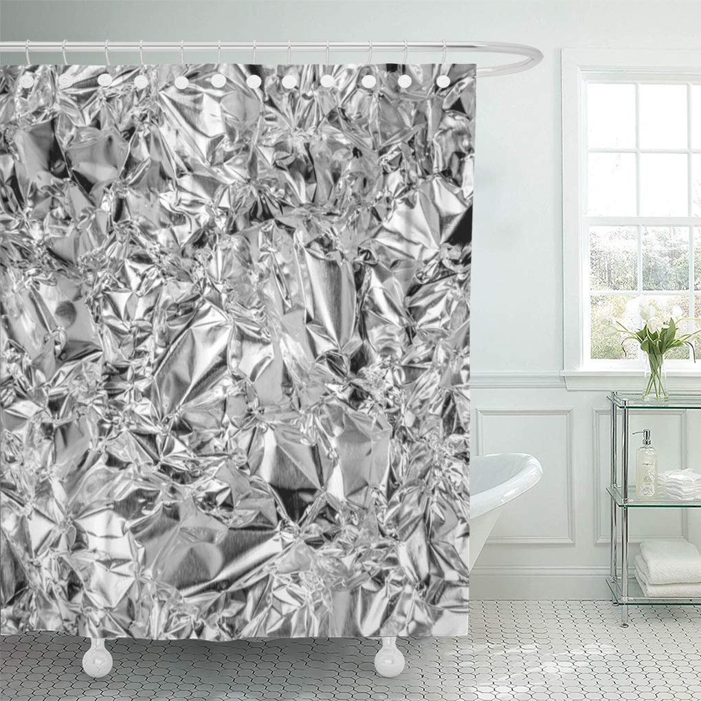 cynlon sparkle silver bling and crumpled glam glamorous jewels diamonds bathroom decor bath shower curtain 60x72 inch