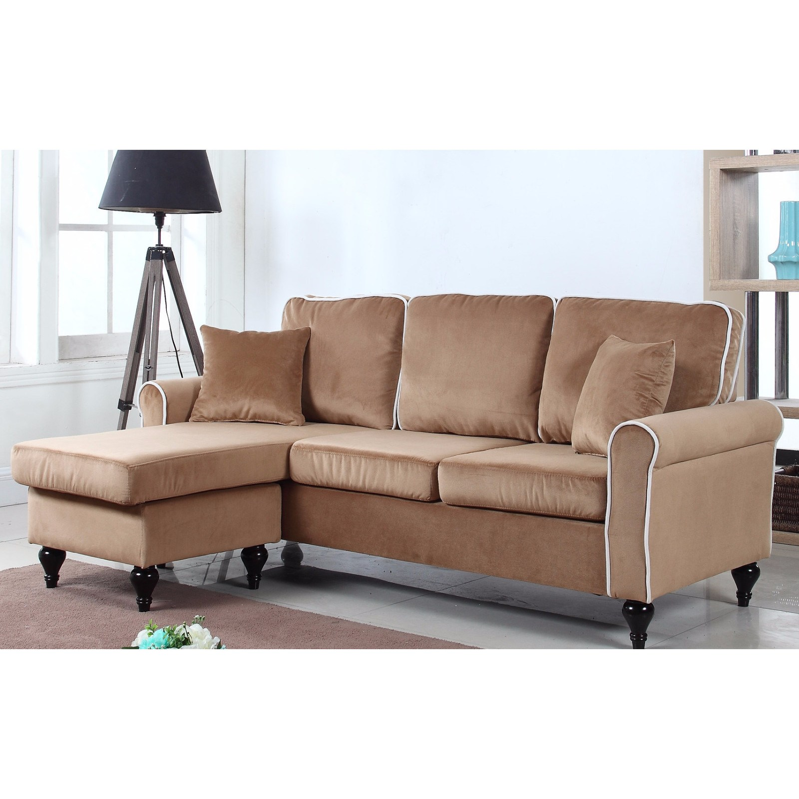 Madison Home Traditional Small Space Velvet Sectional Sofa ...