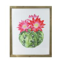 """24"""" Green and Pink Inflorescent Cactus Decorative Wooden ..."""