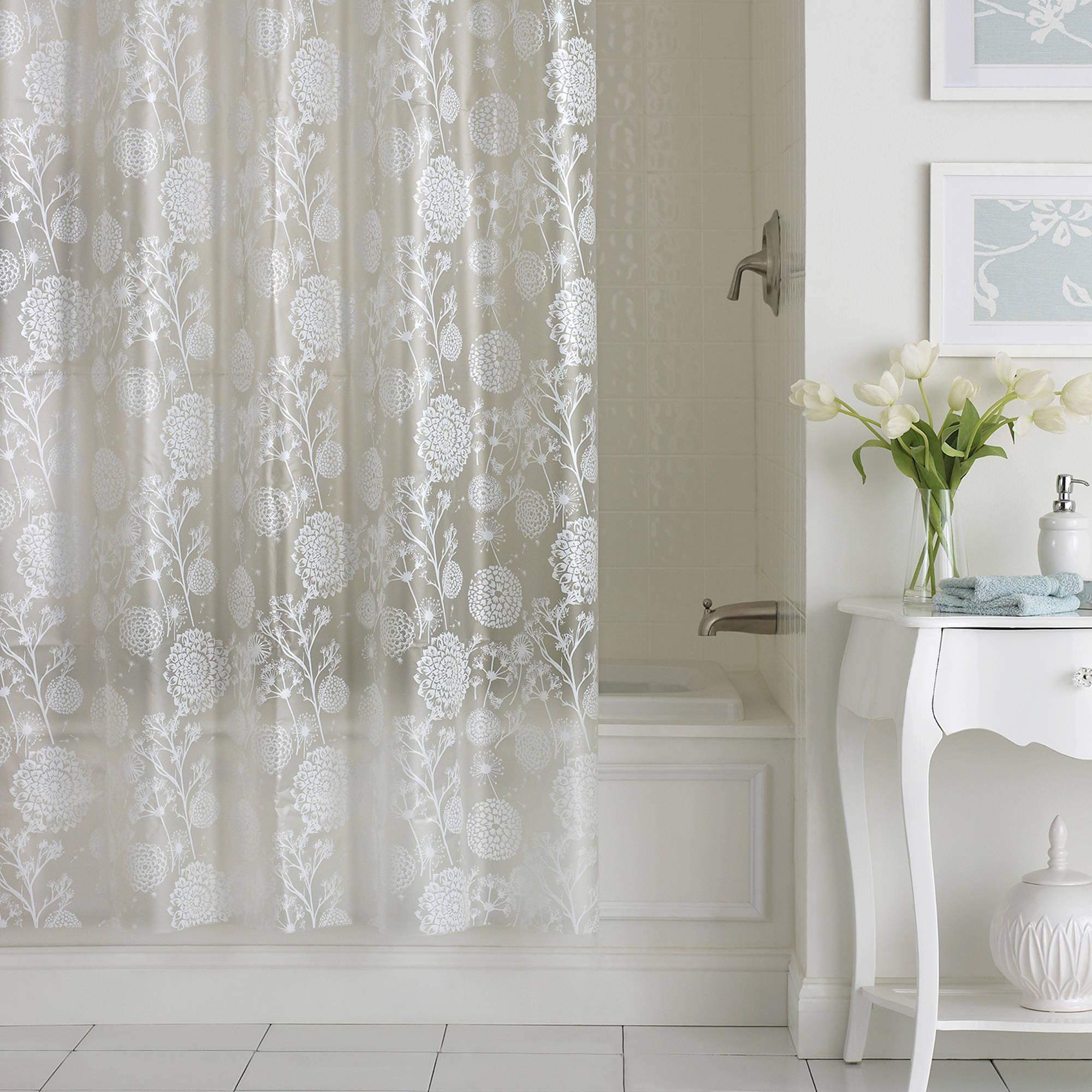 Excell Allegra PEVA Shower Curtain White  Walmartcom