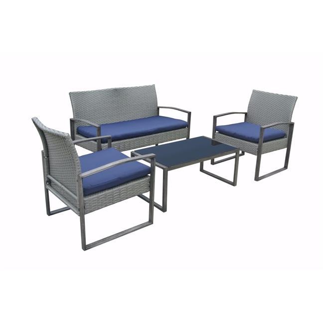 stellahome bs02 gmdb 4 piece wicker patio furniture outdoor conversation set gray dark blue 23 4 x 22 8 x 29 5 in walmart com
