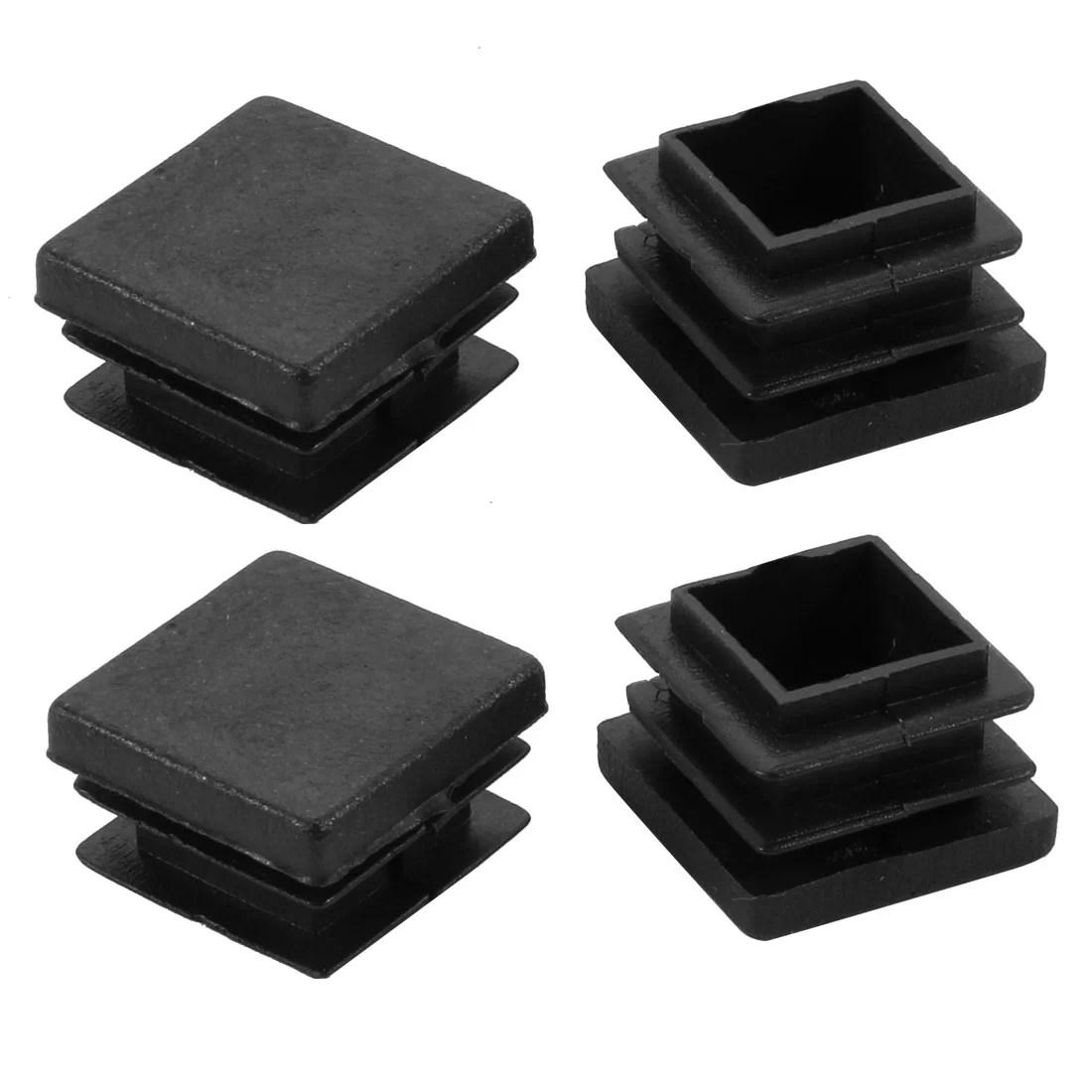 folding chair leg floor protectors height toilets 4pcs 22x22mm black plastic square cabinet