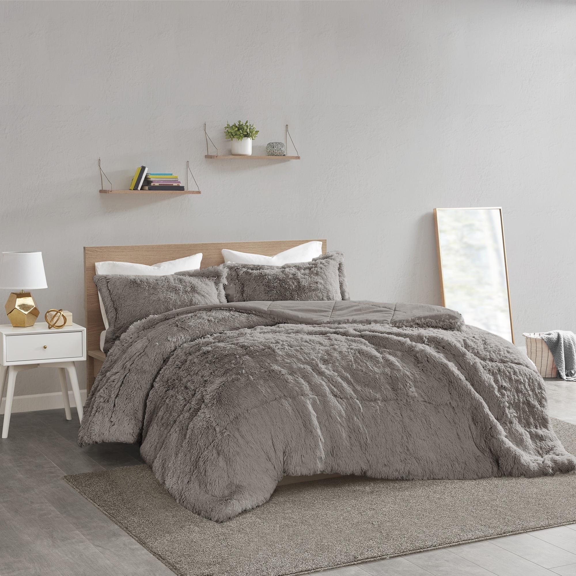 home essence apartment leena shaggy faux fur comforter set twin twin xl grey walmart com
