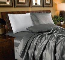 4-piece Bridal Satin Solid Color Sheet Set Full Gray