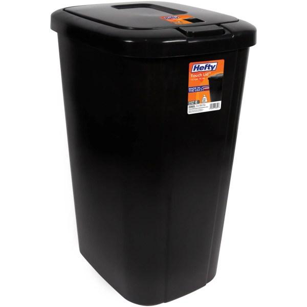Hefty Touch-lid 13.3-gallon Trash Black Wastebasket Garbage Bin Kitchen