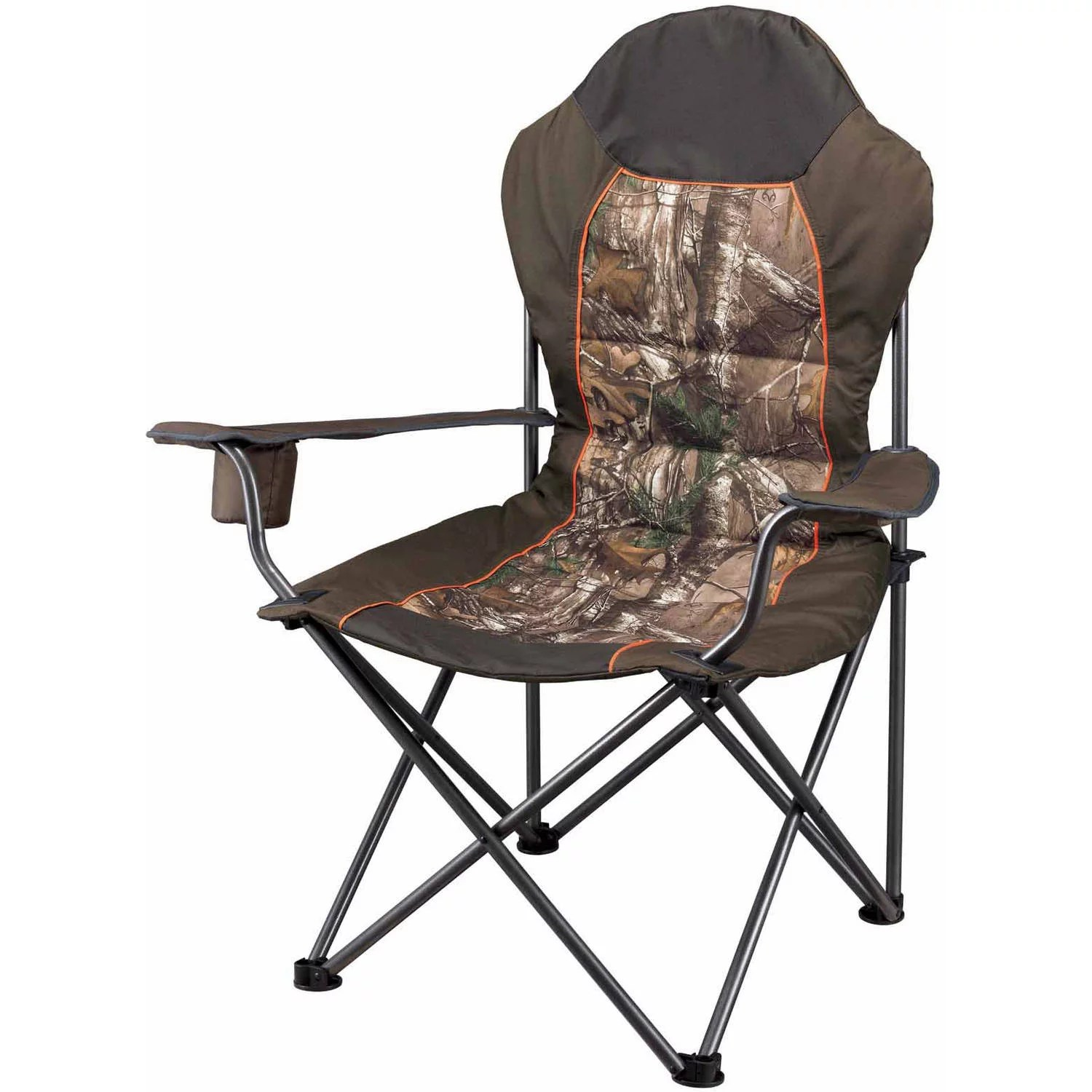 padded camping chair bouncing for babies age ozark trail x realtree xtra deluxe high back quad folding camp walmart com