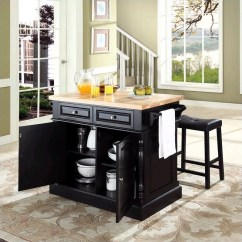 Kitchen Block Wall Cabinet Doors Crosley Oxford Butcher Top Island With Stools In Black