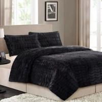 Better Homes&gardens Bhg 3pc Faux Fur Mini Cmf Set Black F ...