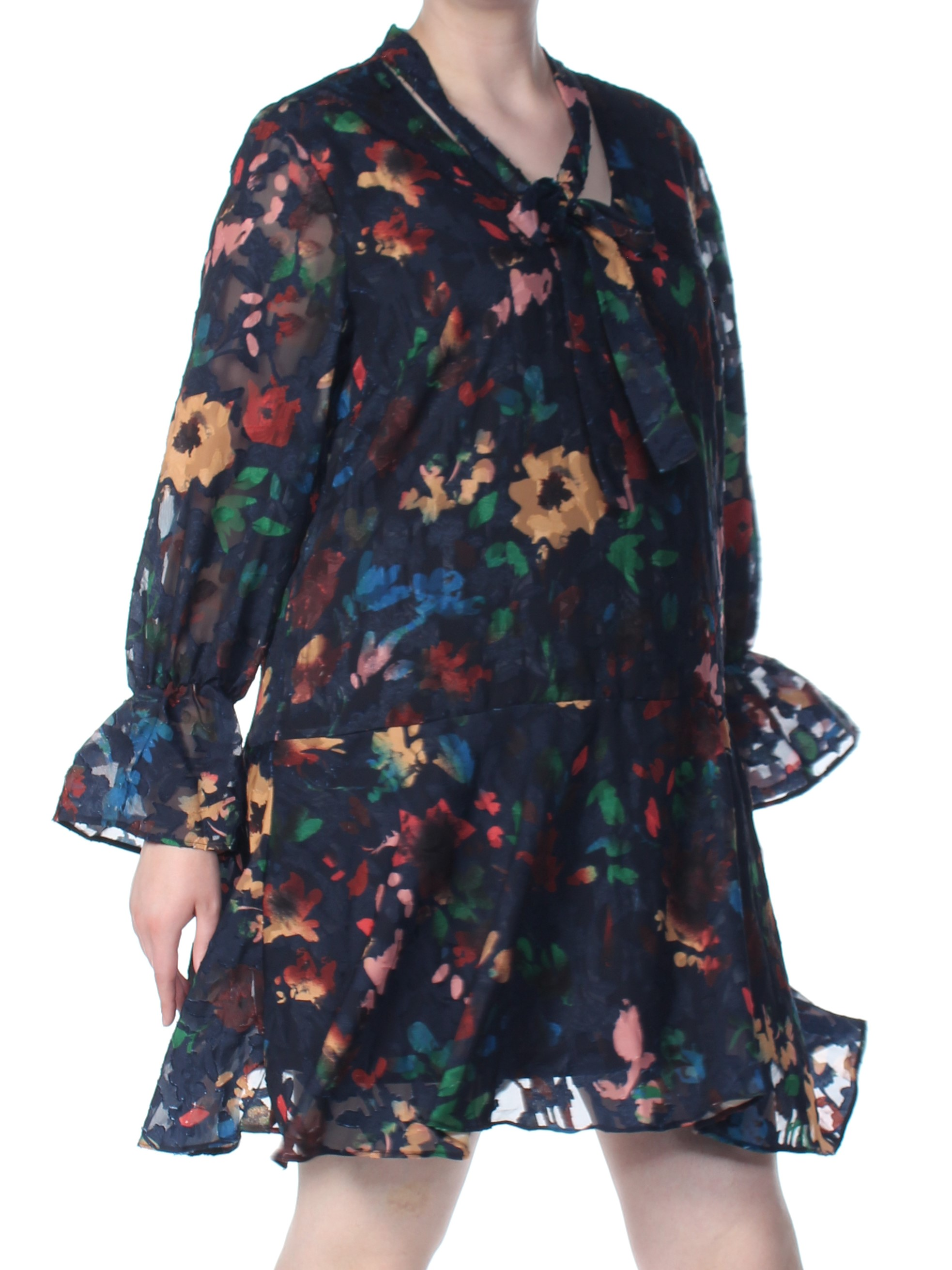 ECI Womens Navy Floral Long Sleeve V Neck Shift Dress  Size: XL