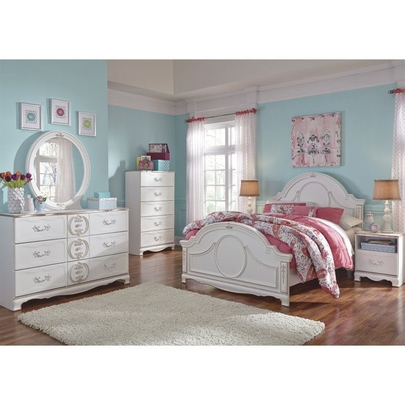 ashley korabella 6 piece wood twin panel bedroom set in white