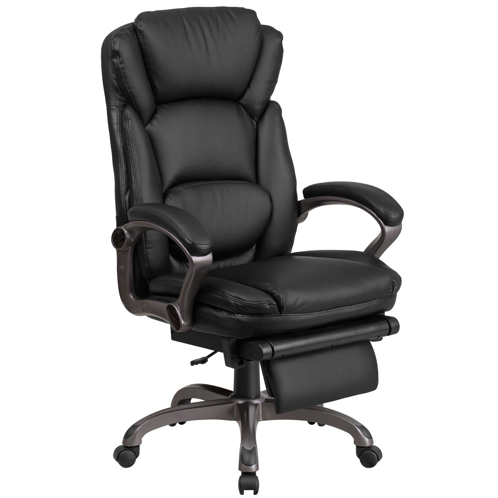 black leather office chair high back ergonomic varier flash furniture executive reclining swivel with padded armrests walmart com