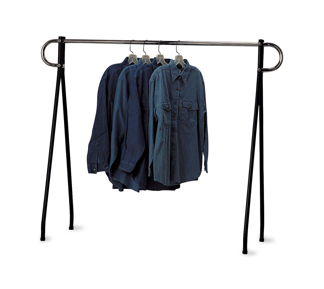60 x 60 inch black chrome single rail garment rack