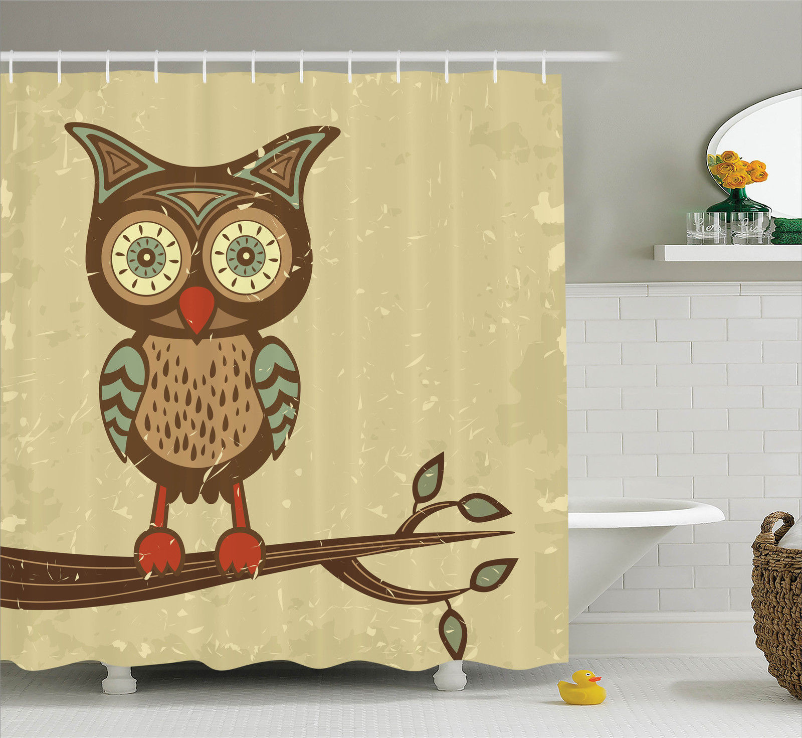 Cute Owl Decor Owls Home Decor Shower Curtain Set Cute Owl Sitting On Branch Eyesight Animal Humor Pastel Retro Modern Graphic Bathroom Accessories 69w X 70l