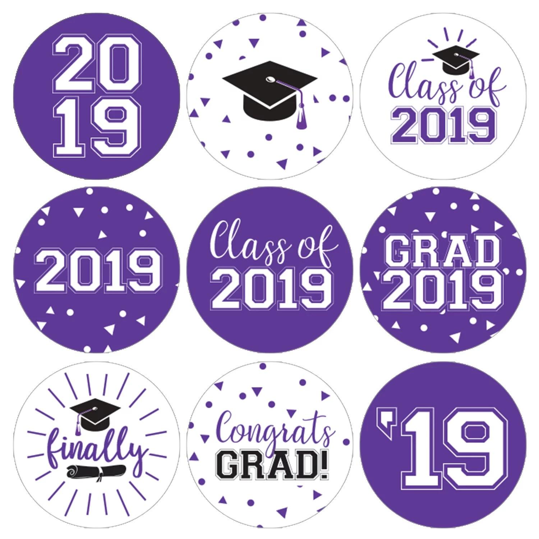 purple graduation party stickers