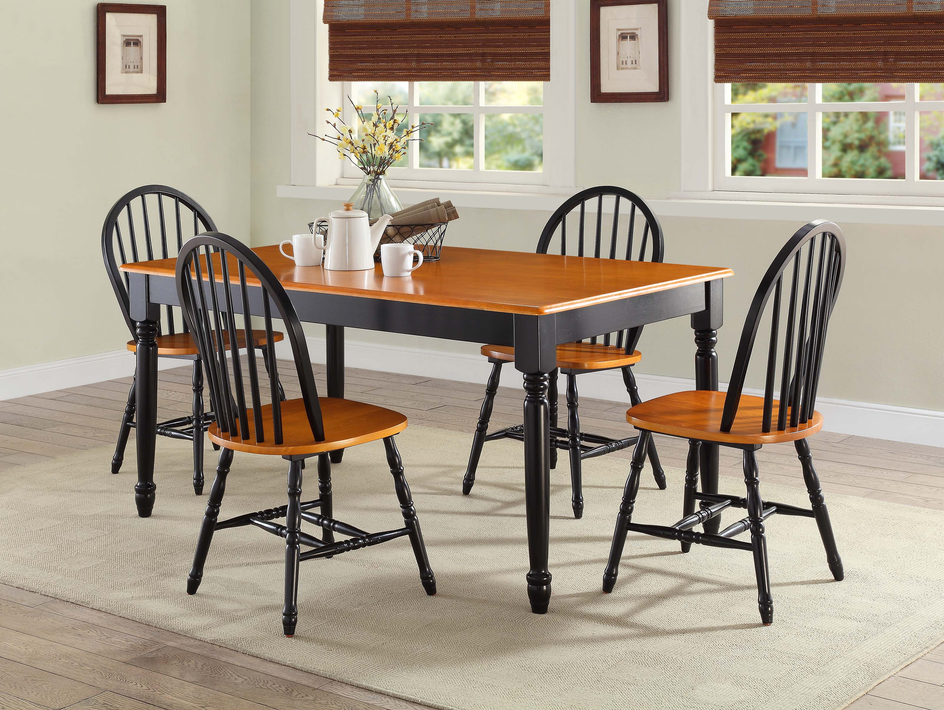 Better Homes and Gardens Autumn Lane Farmhouse Dining Table Black and Oak 703062492133  eBay