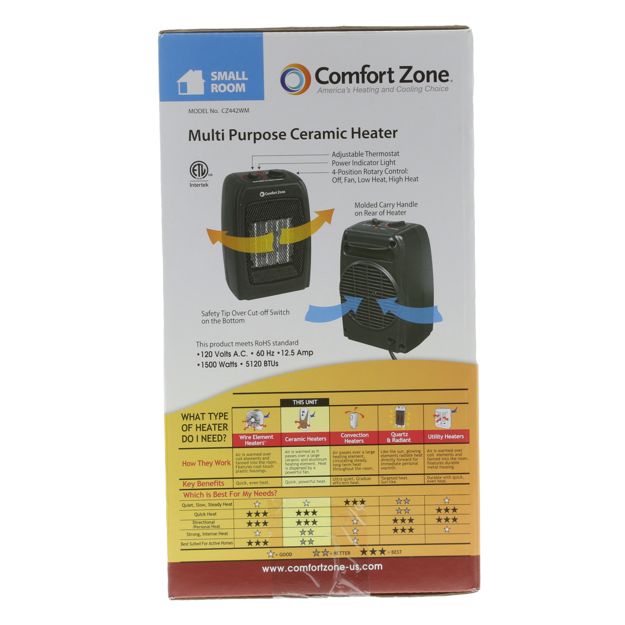 hight resolution of comfort zone ceramic electric portable space heater black cz442wm walmart com