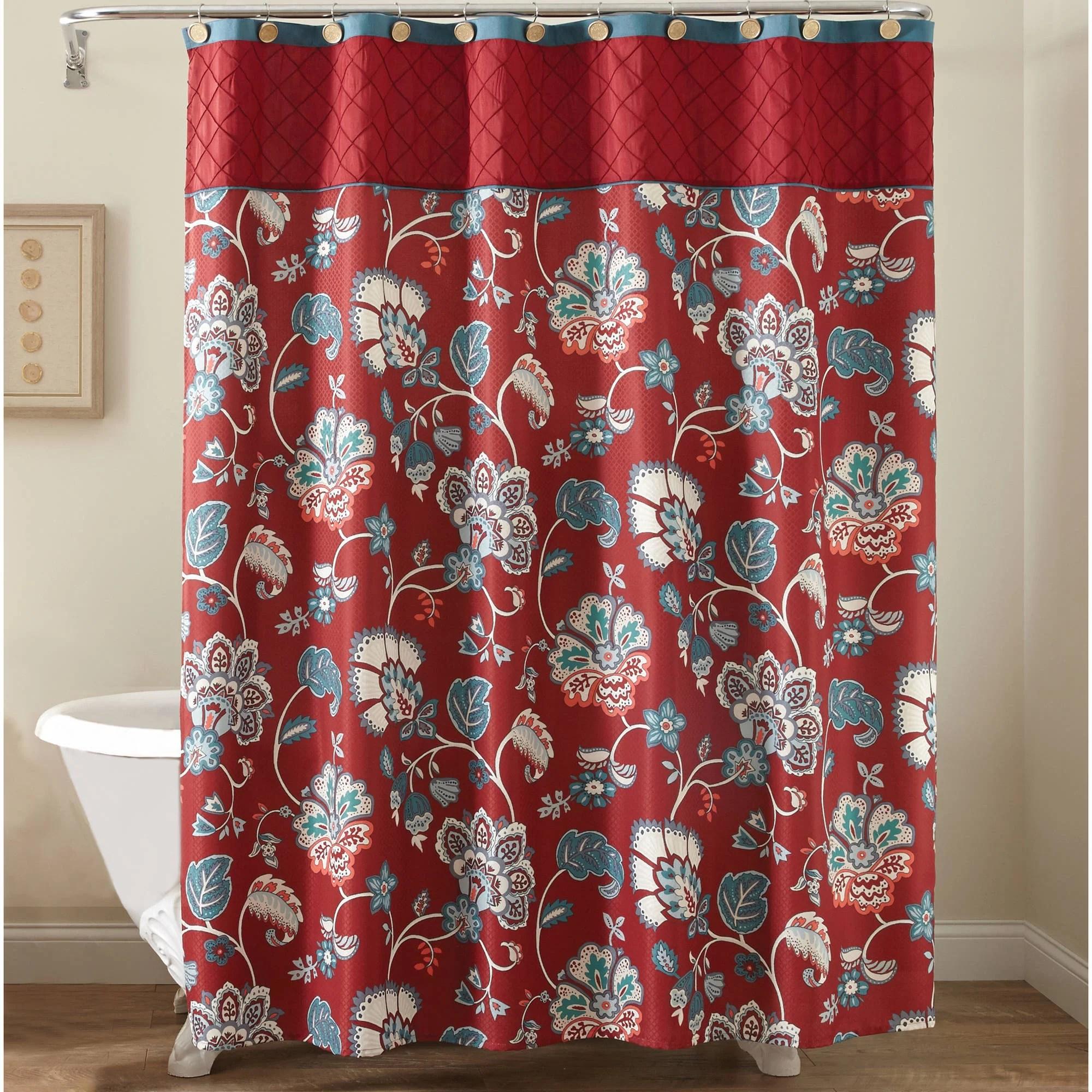 Better Homes  Gardens Polyester 72 x 72 Red Jacobean Fabric Shower Curtain 1 Each  Walmartcom