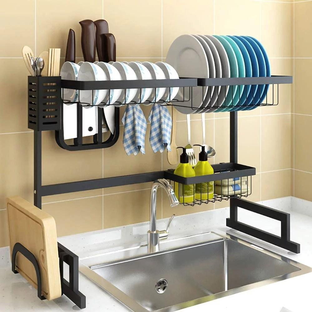 2 tier over sink shelf dish drying rack cutlery drainer utensils holder washing organizer