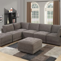 Suede Living Room Furniture Layout For Rectangular With Corner Fireplace Charcoal Waffle Fabric Sectional Sofa 7pc Set Tufted Couch Seat 2 Wedge 3 Armless Chairs And Ottoman Walmart Com