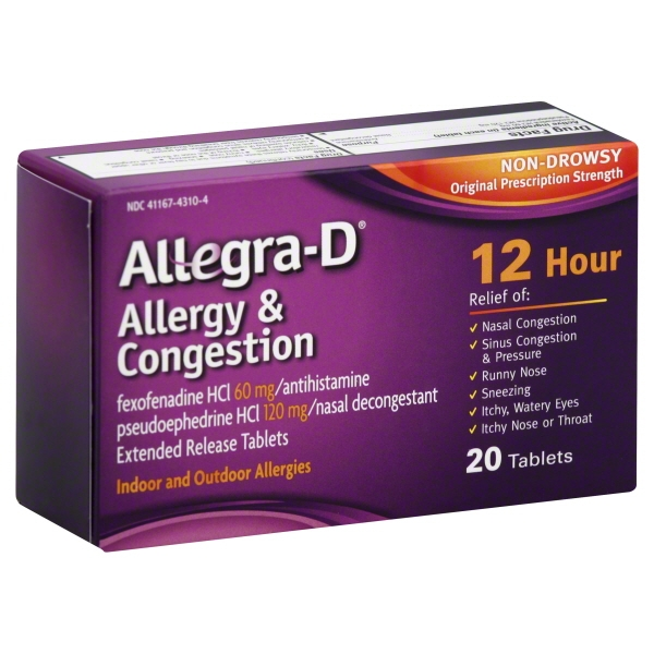 UPC 041167431047 - Allegra D Adult 12 Hour Allergy and ...