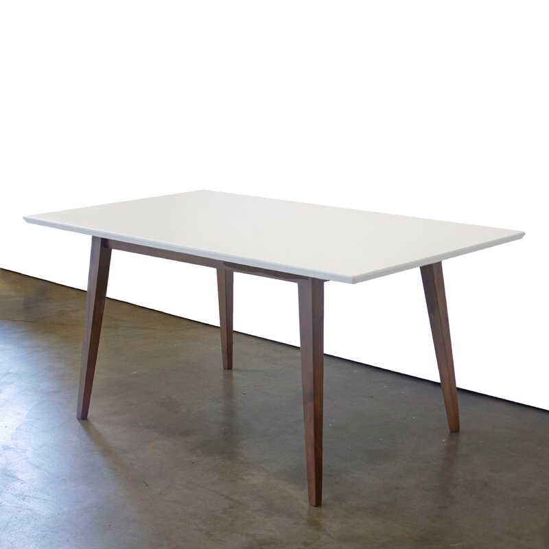 mid century modern aven white top dining table large walmart com